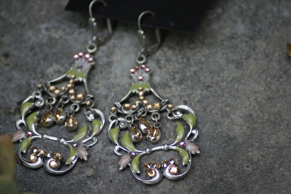 Green and Pink Enamel Chandelier Earrings