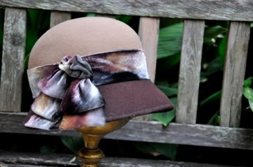 3 tone brown felt cloche with dyed ribbon