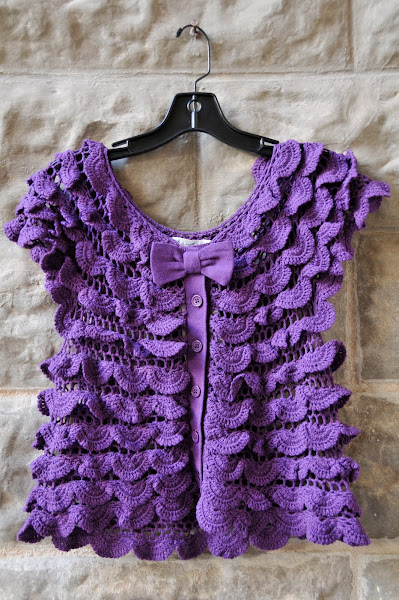 Purple Crochet Vest or Top with Buttons