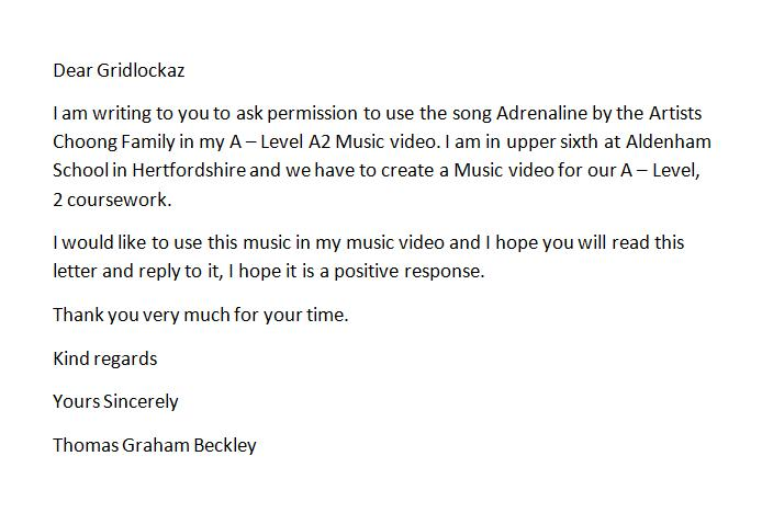 A2 media studies music video cw letter asking for permission this is the letter that i sent to ask permission to use the song adrenaline by the artist group choong family thecheapjerseys Images