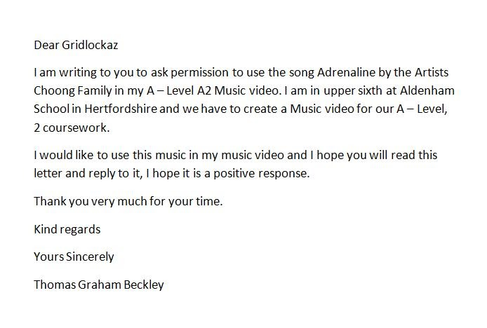 A2 Media Studies Music Video CW Letter Asking For Permission