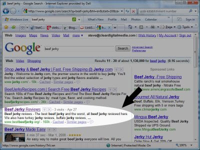 Google SERP for beef jerky