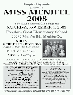 miss menifee pageant flyer