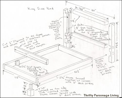 king size headboard plans - King Size Bed Frame Plans
