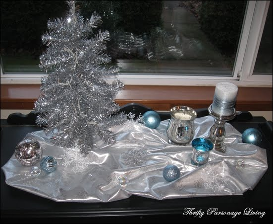 Thrifty Parsonage Living Silver And Blue Christmas Vignette