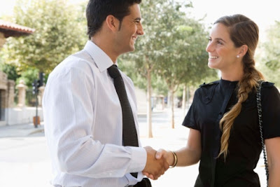 Business Professional Networking after an Audio Visual Rental