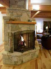 Michael thronson masonry masonry heater in limestone for Rumford fireplace kits