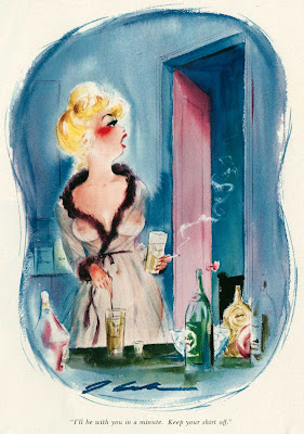 Playboy cartoon of woman in see through wrap in bathroom drinking and smoking cigarette