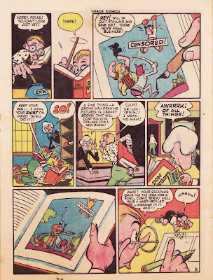 A cartoon spinster librarian is shown in this comic book page from 1944.