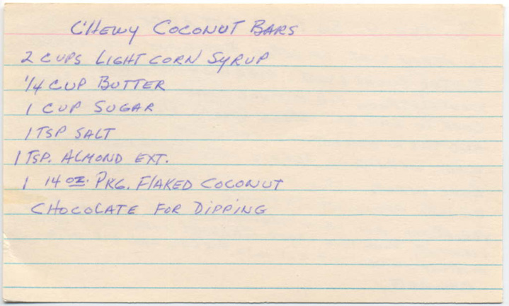Memere S Favorite Recipes Chewy Coconut Bars