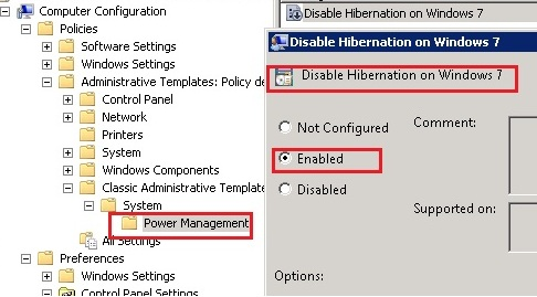 adm template to disable hibernation on windows 7 via group policy