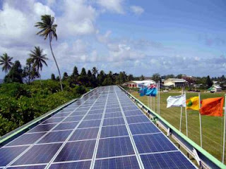 The first major solar system in Tuvalu, atop the stadium roof in the capital, Funafuti, is the first step towards a national goal of being powered entirely by renewable energy.