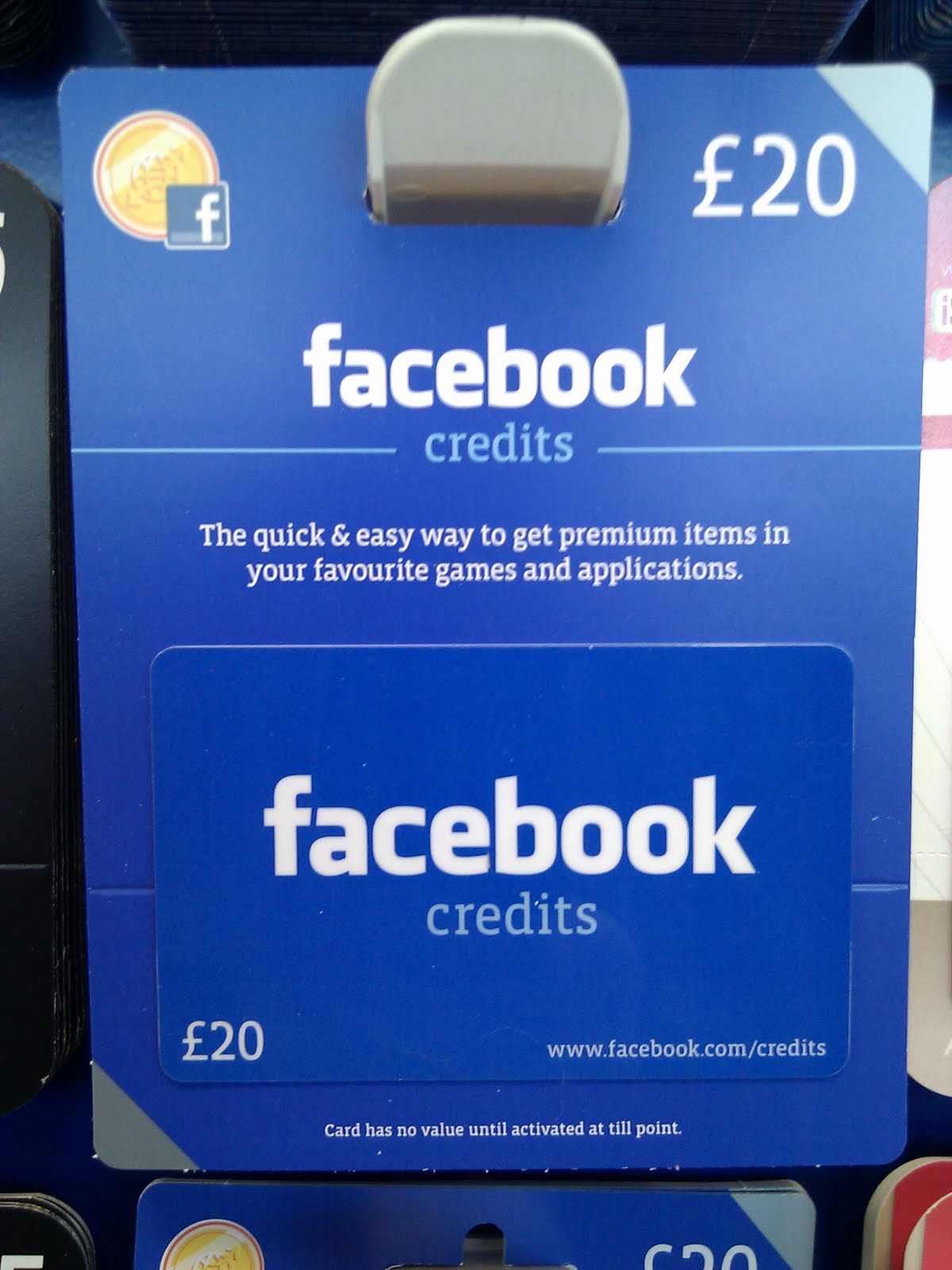 Facebook credits gift cards now available at tesco negle Gallery