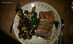 My dinner - salmon, brussel sprouts, spinach
