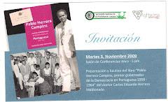 """Invitación muy especial bautizo del libro """"Pablo Herrera Campins Primer Gobernador de La democracia"""