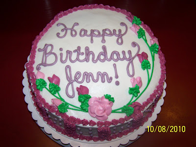 Happy Birthday Jennifer! This cake was made for a birthday party we had at
