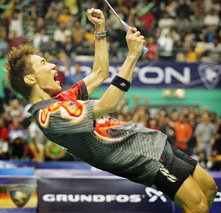 Lee Chong Wei after defeating Lin Dan