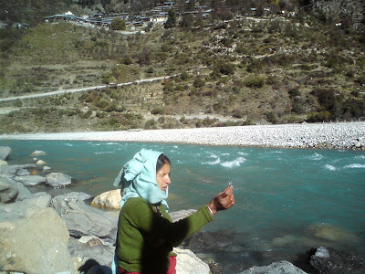 On the banks of River Bhagirathi in Harsil
