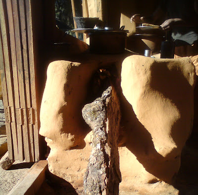 Traditional brick kiln with wood used for cooking food