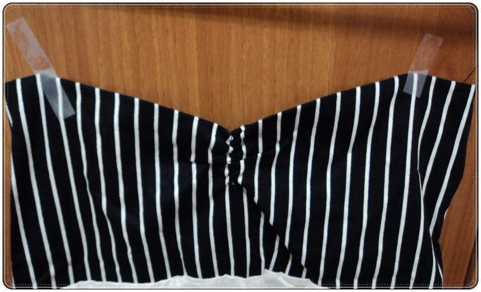 black and white striped boob tube