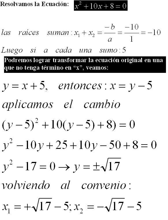 Diccionario Matematicas: Método Solución Ecuación Cuadrática por ...