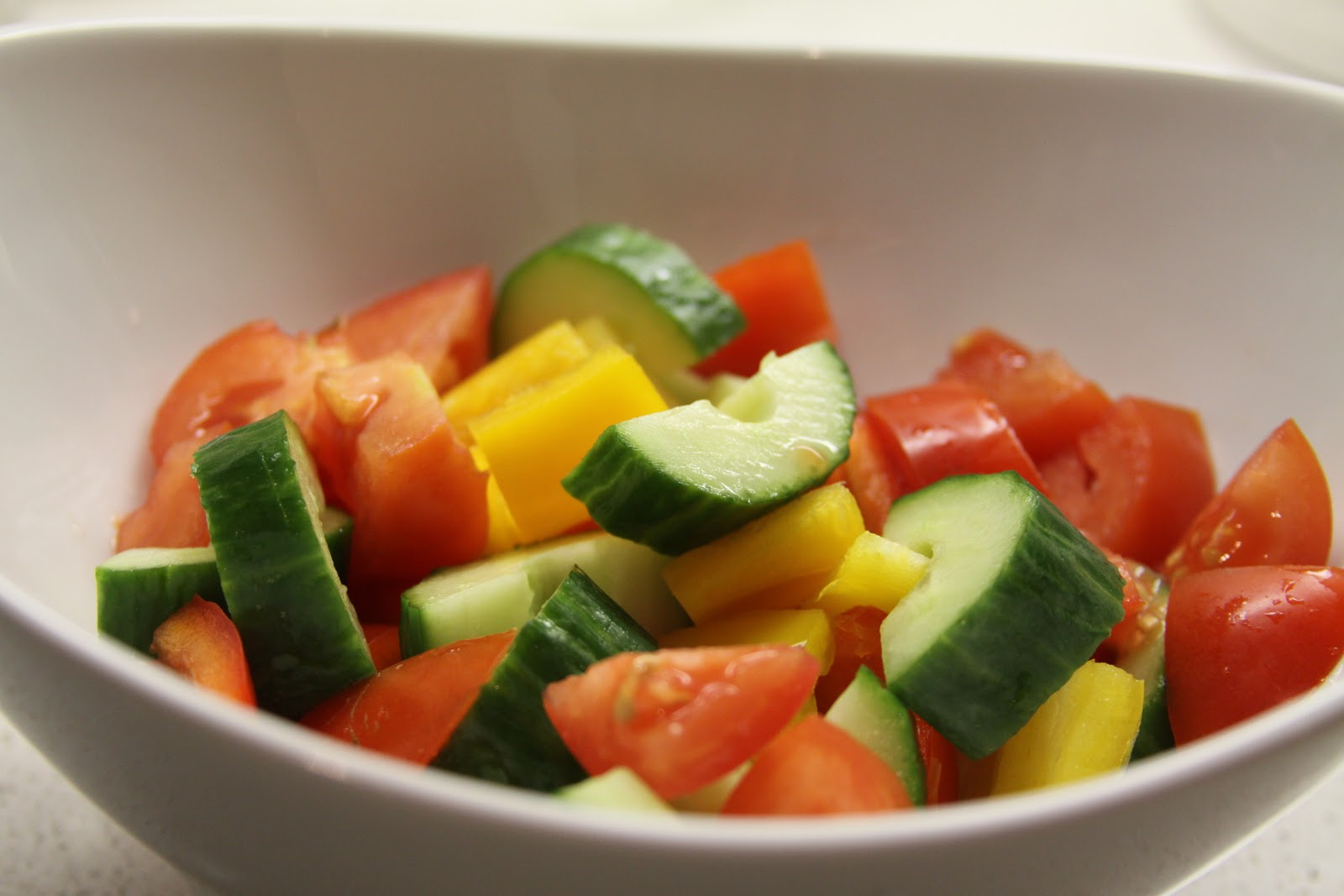 panzanella with heirloom tomatoes, cucumber, and peppers :: plate