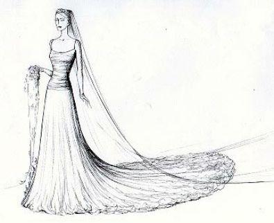 kate middleton wedding dress sketch. kate middleton wedding gown