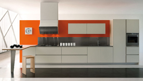 Interior modern contemporary kitchen with orange feature for Authentic chinese cuisine for the contemporary kitchen