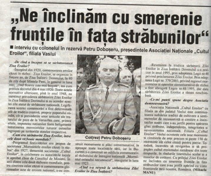 Interviul Presedintele Filialei Judet Vaslui a ANCE ,col (rez)  Petru Doboseru de Ziua Eroilor