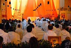 The inside of the Taizé church