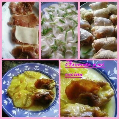 Muslo de pollo relleno de jamón y queso