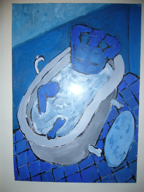 chico azul bañera
