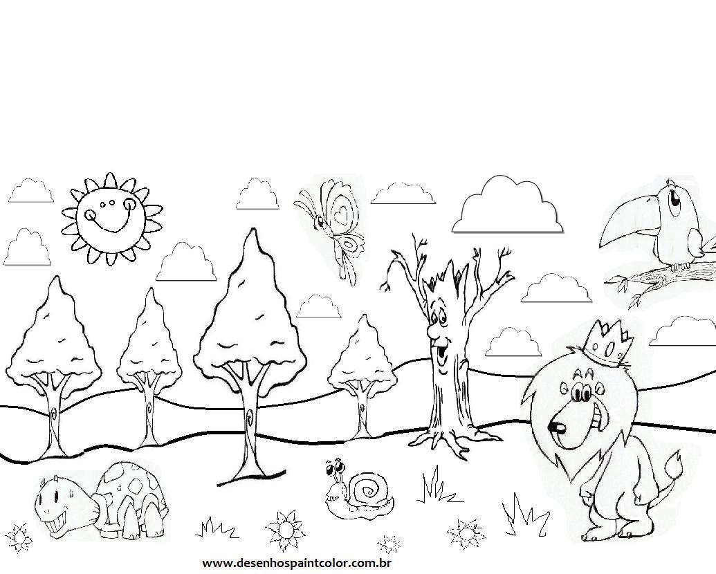colorindo com a dry desenho de floresta animais diversos na