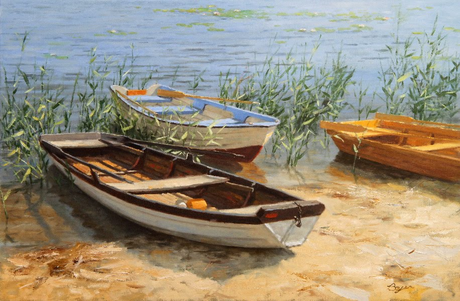 Row Boat Paintings | Foto Artis - Candydoll