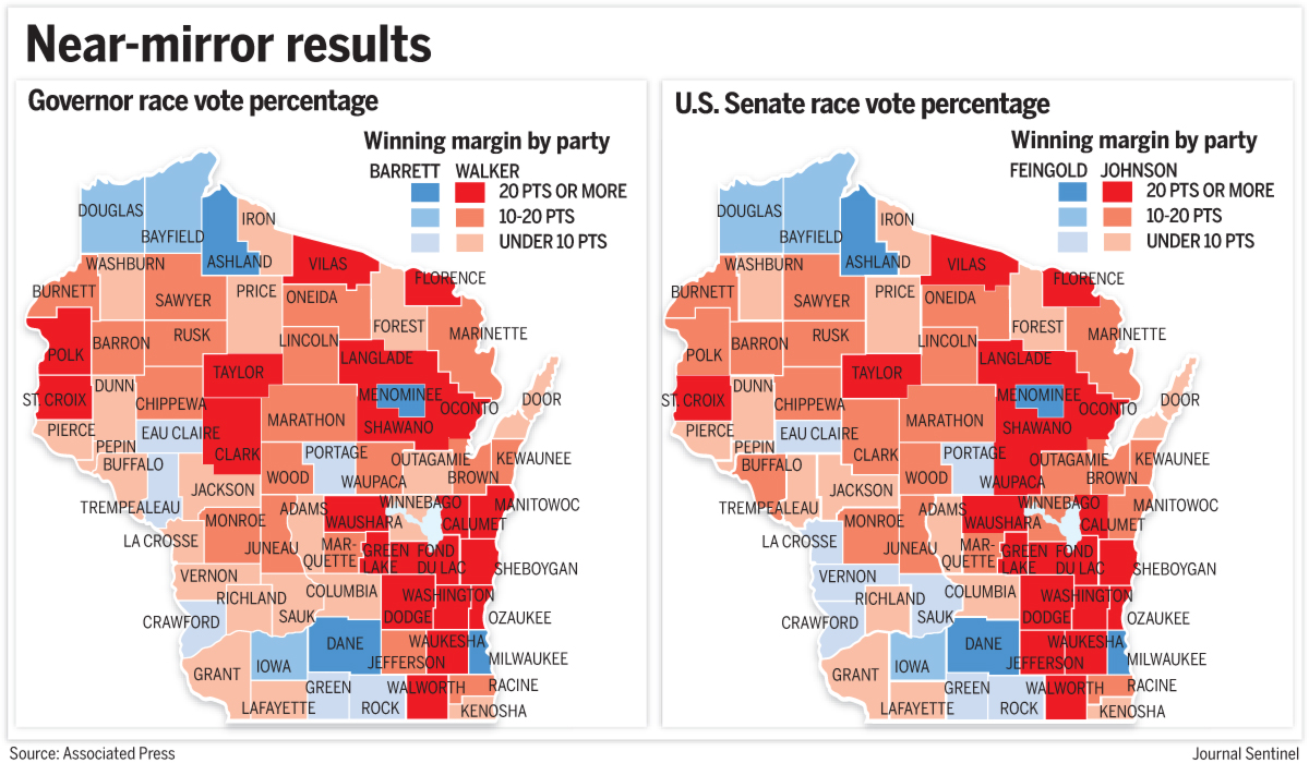 not only that but as the below maps show their vote totals down to the county level were virtually identical