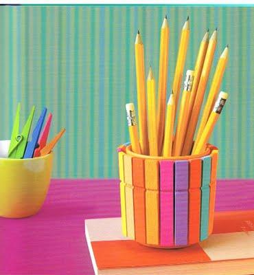 Reciclagem e sucata porta canetas para professoras for Porta ganchos de ropa