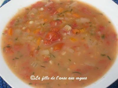 La fille de l 39 anse aux coques soupe l orge et aux tomates - Soupe de tomate maison ...