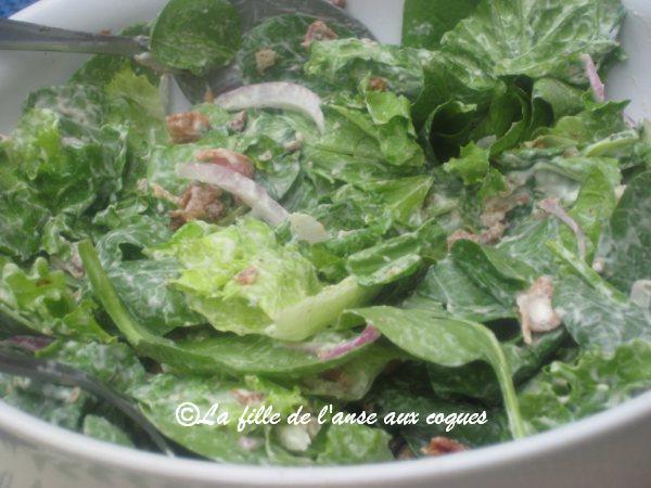 La fille de l 39 anse aux coques petite salade verte aux pacanes et bacon - Accompagnement salade verte ...