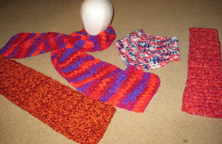 crocheted scarves and neck warmer
