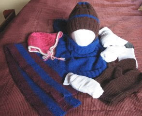 knitted mittens, hat, gator, scarf