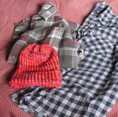 knitted hat, flannel shirts