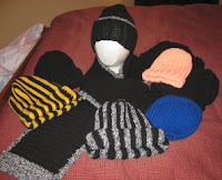 crocheted, knitted hats and mittens
