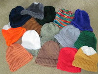 hats knitted on a loom