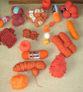 orange yarn stash