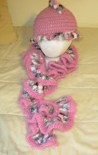 crocheeted hat and scarf set