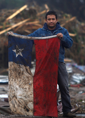 bandeira do chile suja depois do terremoto