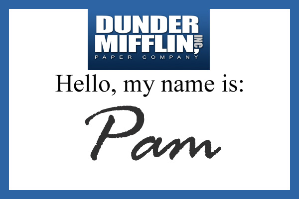 photo regarding Dunder Mifflin Name Tag Printable identified as Magnificent Halloween: Pam Beasley Halpert The Gorgeous Sisters