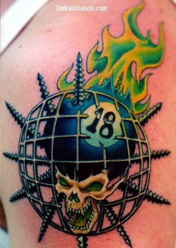 Labels: Skull Tattoo with Fire on Arm /