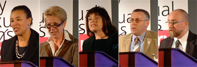 left to right: Patricia Scotland, Dru Sharpling, Barbara Follett, Richard Kirker and Stephen Whittle.