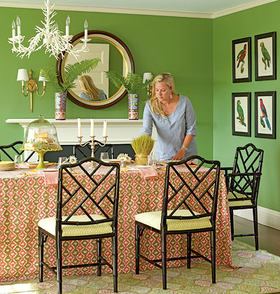 Site Blogspot  Combined Living Room  Dining Room on Bright Green Walls Warm Up This Cozy Dining Area